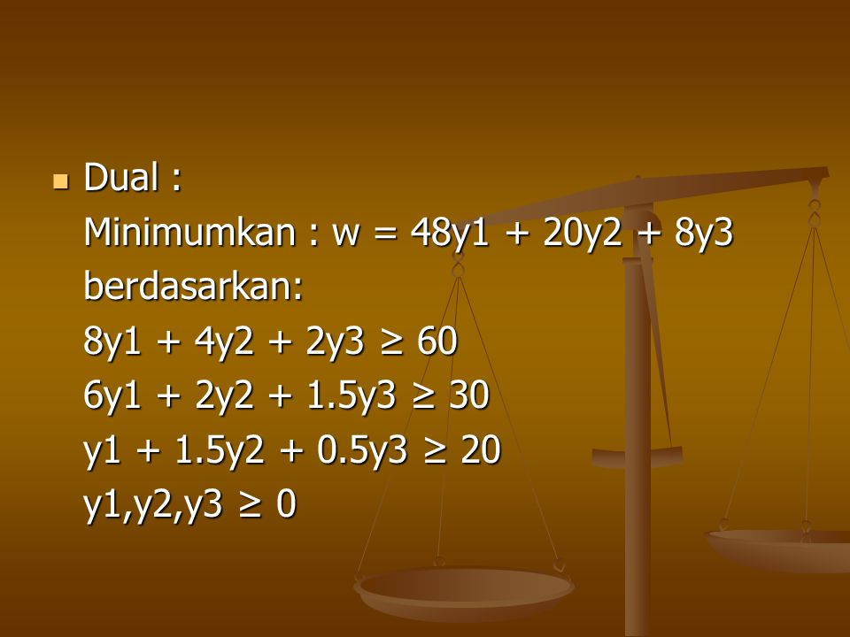Dual : Minimumkan : w = 48y1 + 20y2 + 8y3. berdasarkan: 8y1 + 4y2 + 2y3 ≥ 60. 6y1 + 2y2 + 1.5y3 ≥ 30.