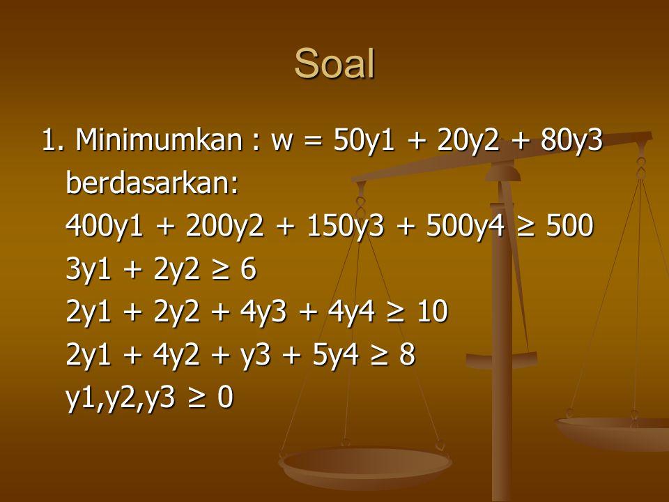 Soal 1. Minimumkan : w = 50y1 + 20y2 + 80y3 berdasarkan: