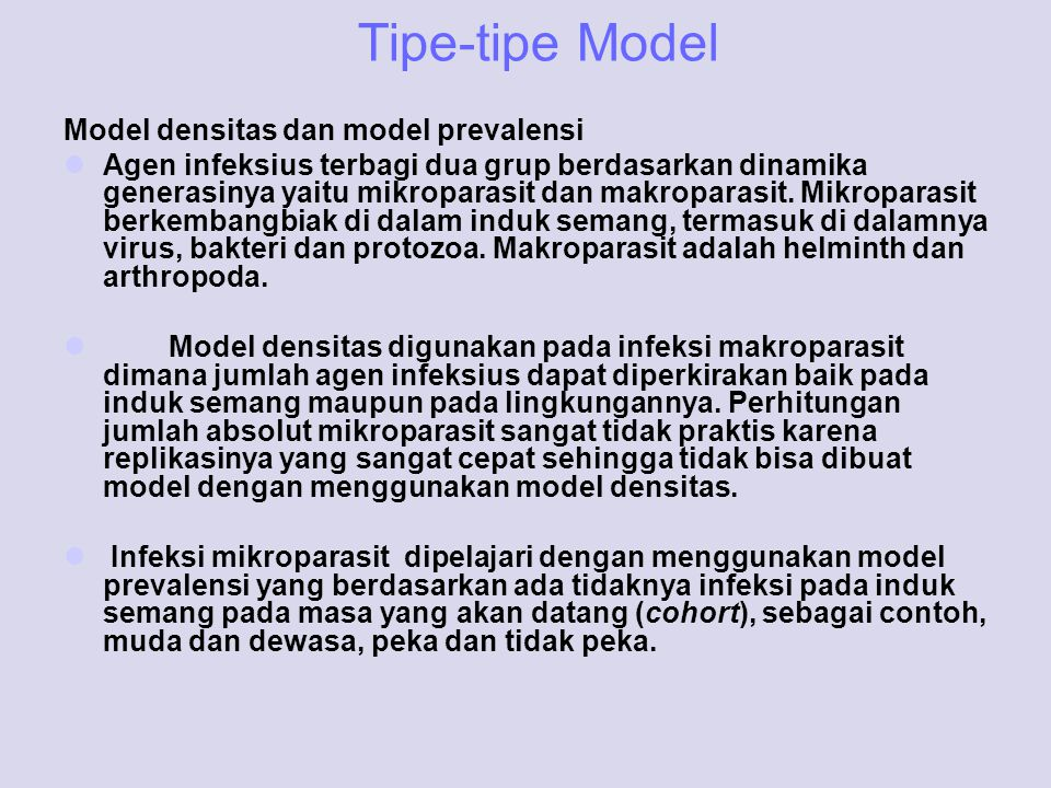 Tipe-tipe Model Model densitas dan model prevalensi