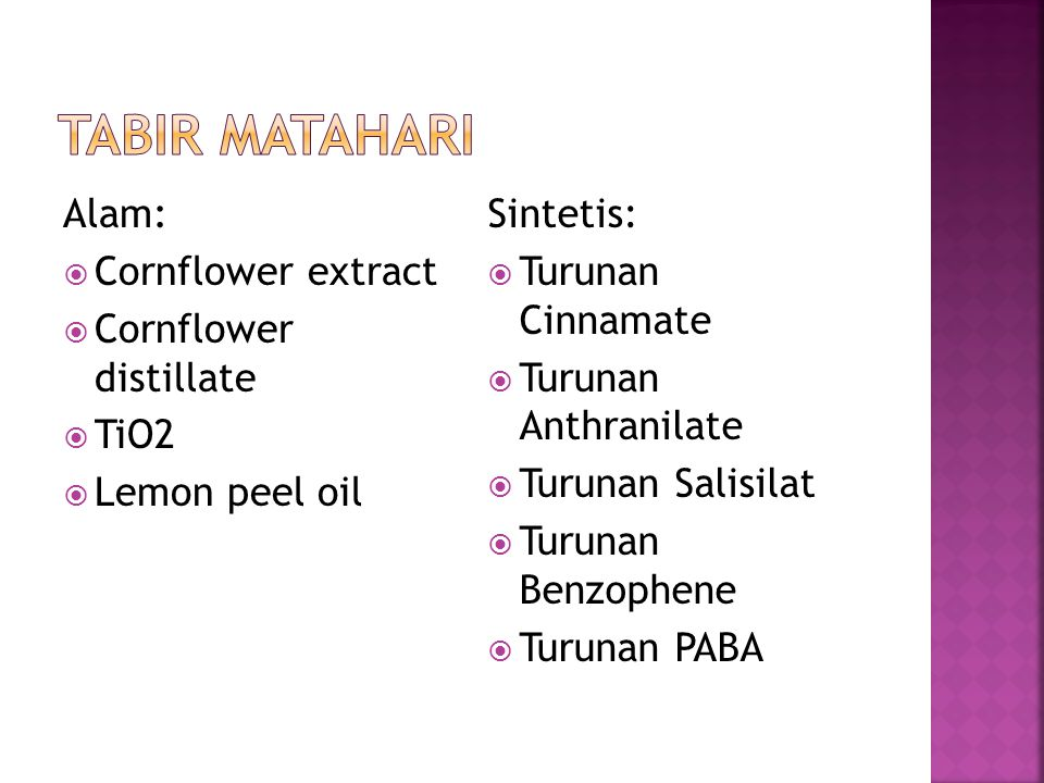 Tabir Matahari Alam: Cornflower extract Cornflower distillate TiO2