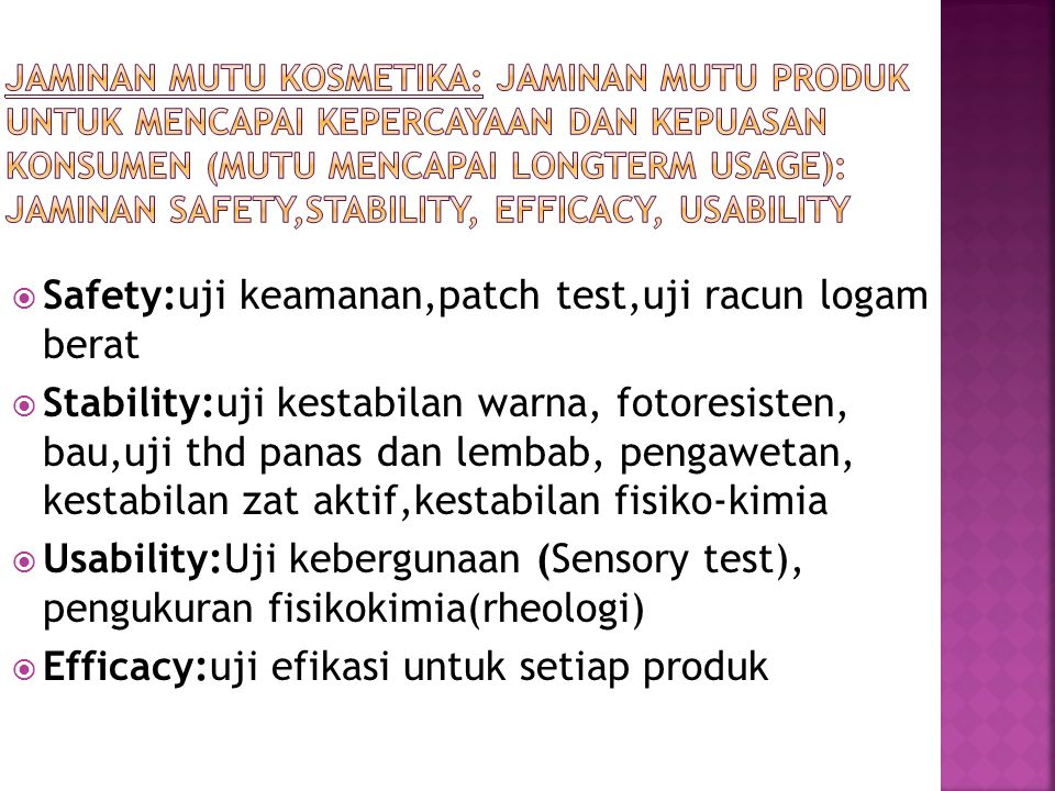 Safety:uji keamanan,patch test,uji racun logam berat