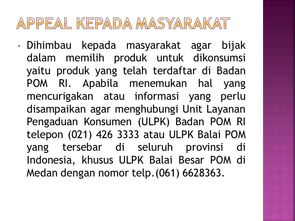 Appeal kepada Masyarakat