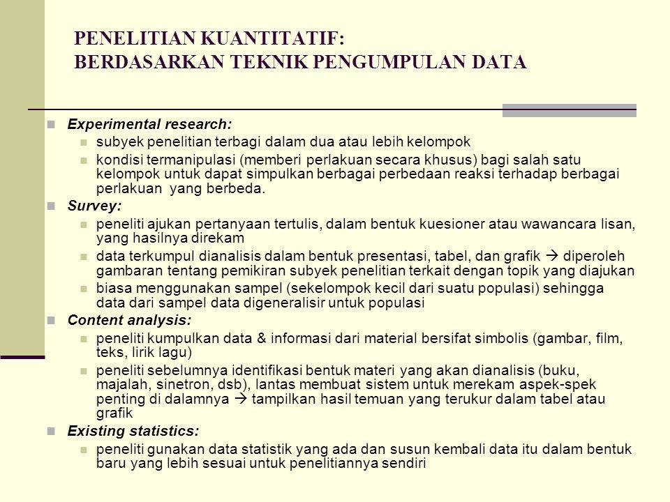 PENELITIAN KUANTITATIF: BERDASARKAN TEKNIK PENGUMPULAN DATA