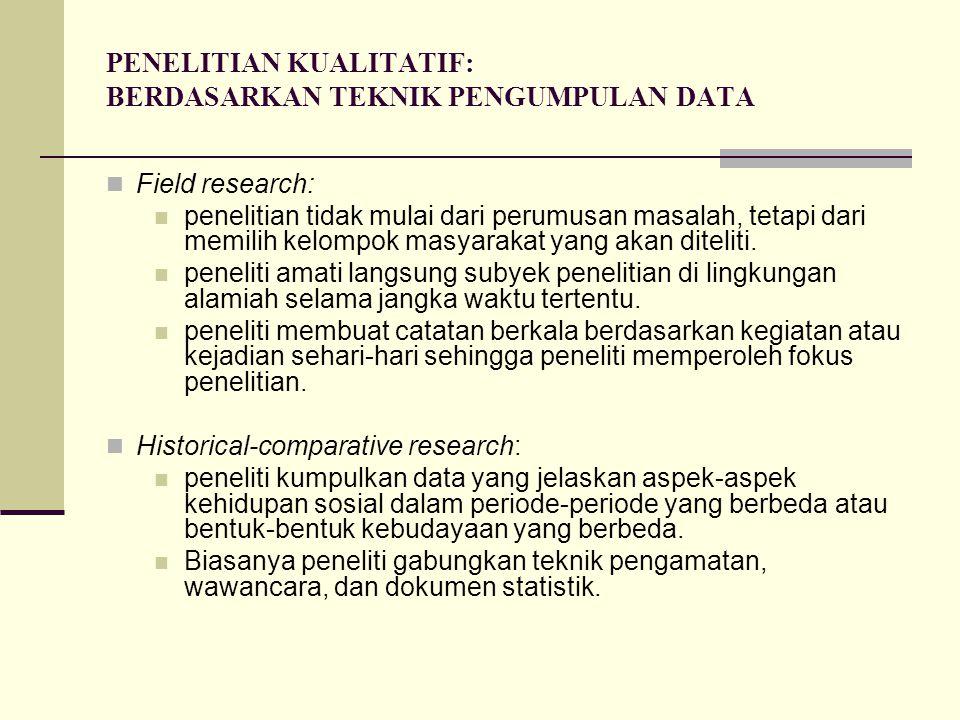 PENELITIAN KUALITATIF: BERDASARKAN TEKNIK PENGUMPULAN DATA