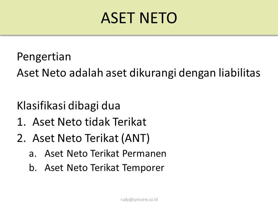 ASET NETO Pengertian Aset Neto adalah aset dikurangi dengan liabilitas