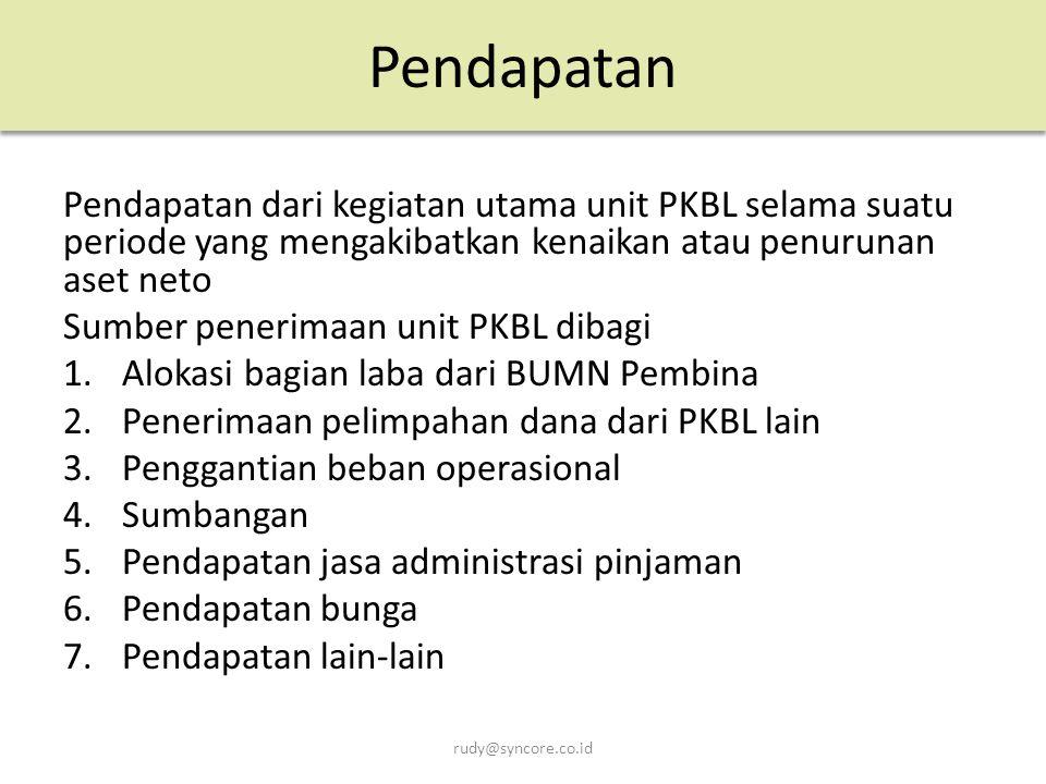 Pendapatan Pendapatan dari kegiatan utama unit PKBL selama suatu periode yang mengakibatkan kenaikan atau penurunan aset neto.