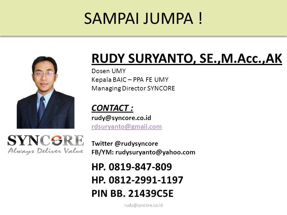 SAMPAI JUMPA ! RUDY SURYANTO, SE.,M.Acc.,AK HP. 0819-847-809