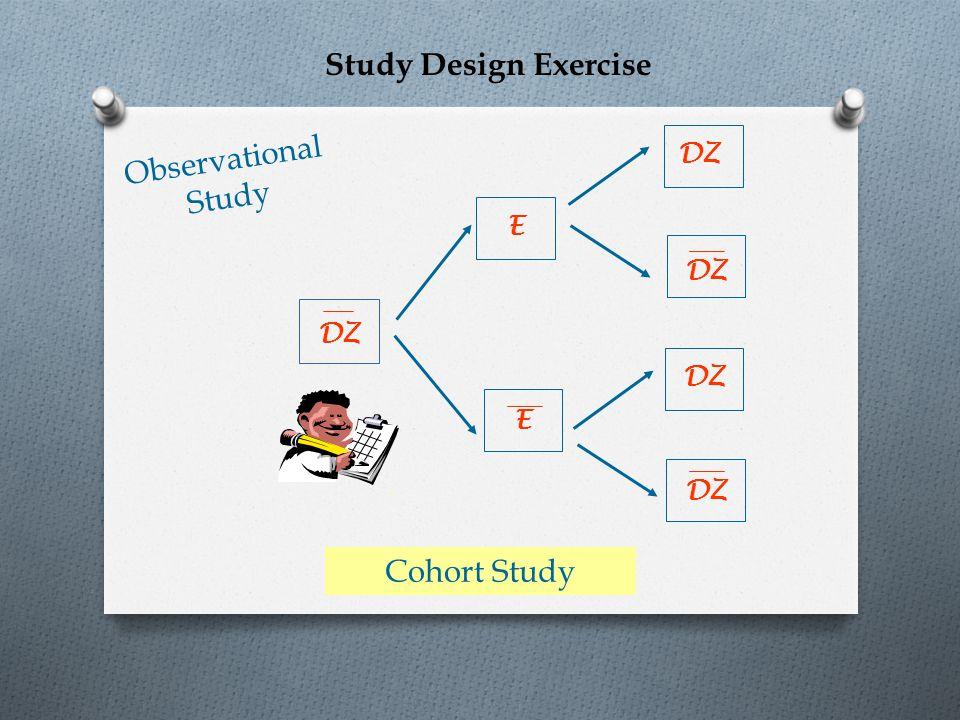 Study Design Exercise Observational Study Cohort Study DZ E DZ
