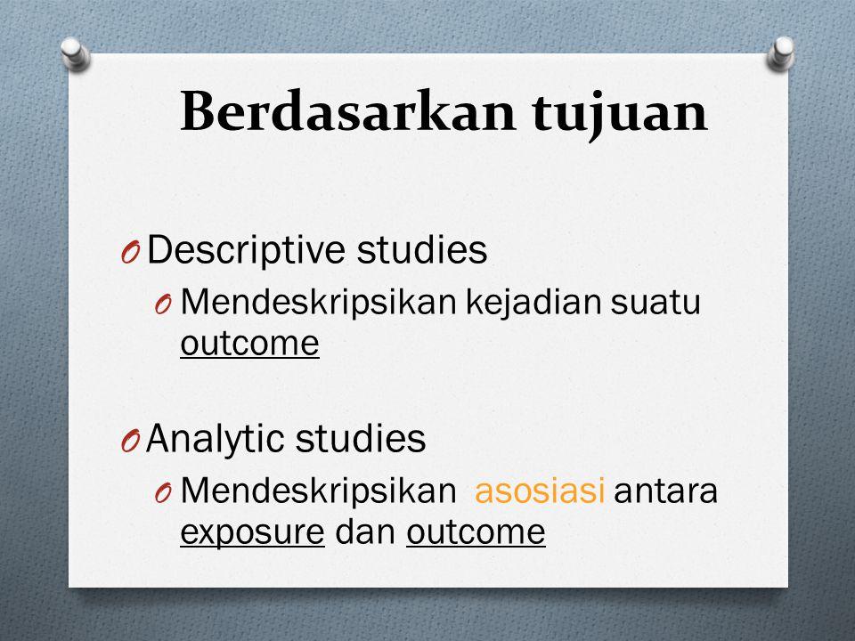 Berdasarkan tujuan Descriptive studies Analytic studies