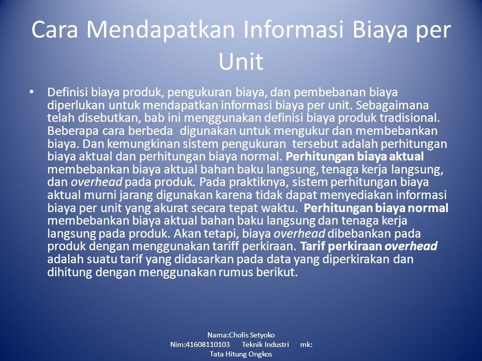 Cara Mendapatkan Informasi Biaya per Unit