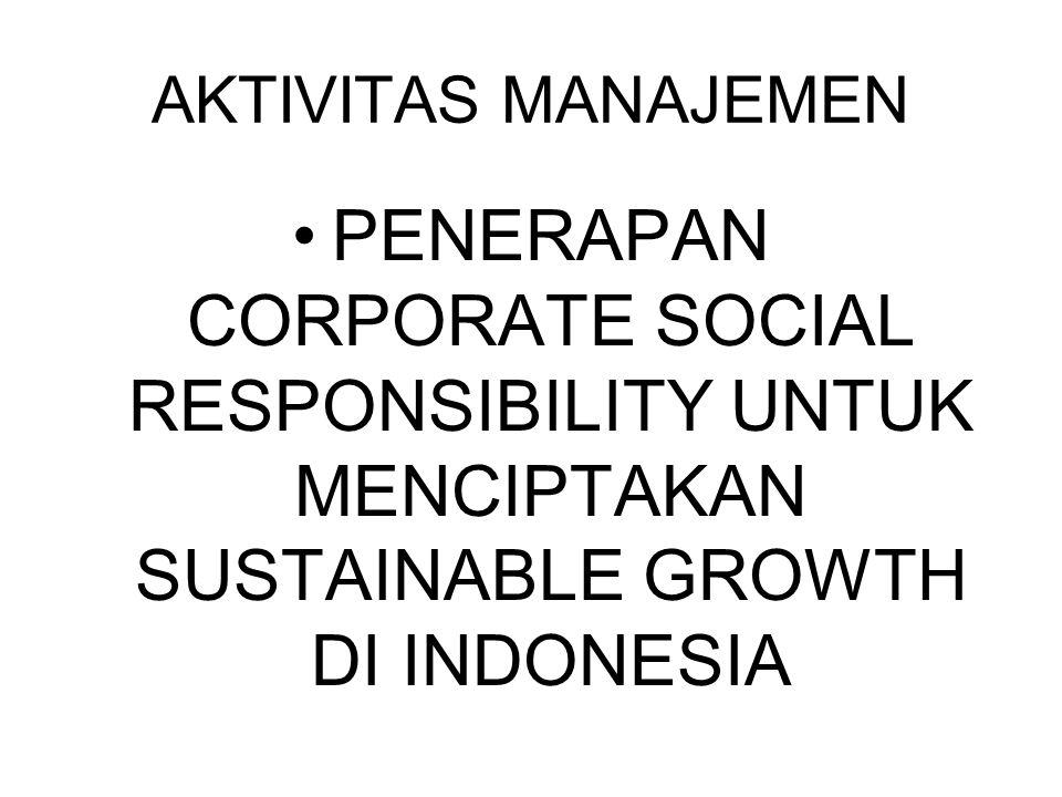 AKTIVITAS MANAJEMEN PENERAPAN CORPORATE SOCIAL RESPONSIBILITY UNTUK MENCIPTAKAN SUSTAINABLE GROWTH DI INDONESIA.