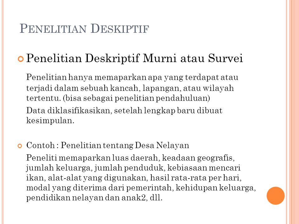 Penelitian Deskiptif Penelitian Deskriptif Murni atau Survei.