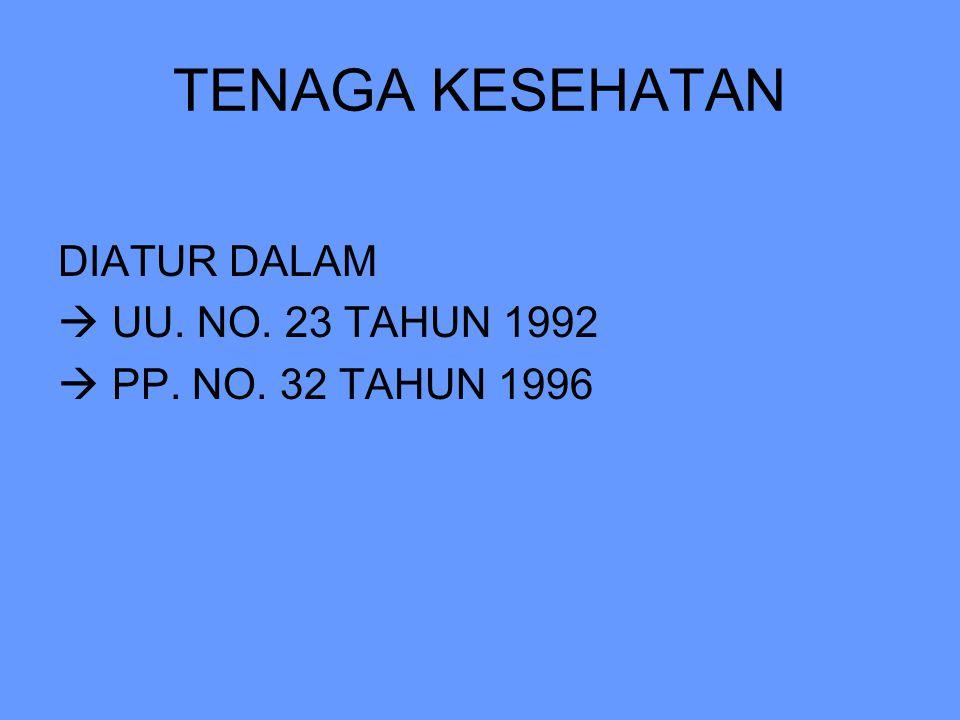 TENAGA KESEHATAN DIATUR DALAM  UU. NO. 23 TAHUN 1992