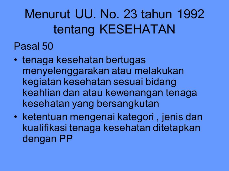 Menurut UU. No. 23 tahun 1992 tentang KESEHATAN