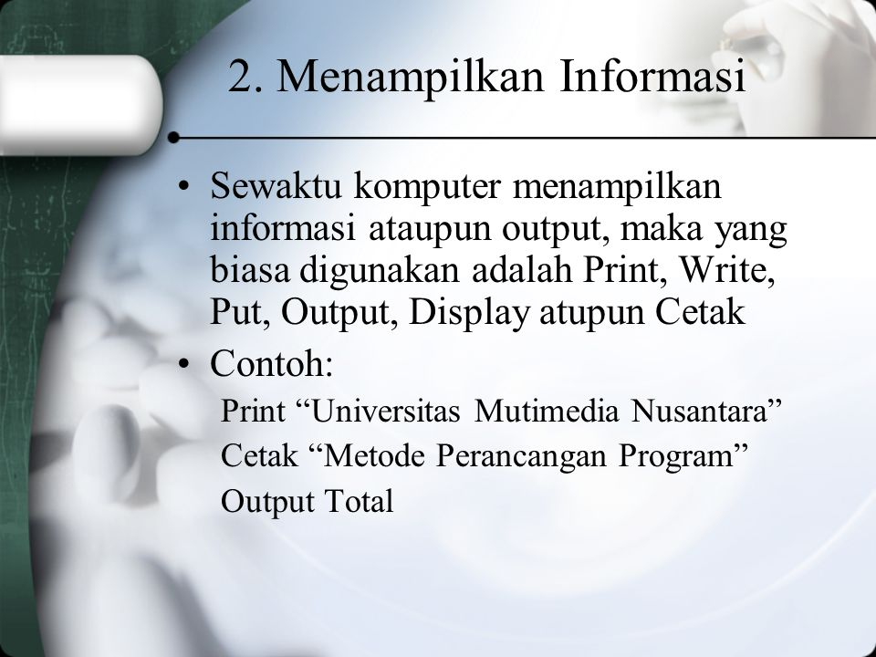2. Menampilkan Informasi