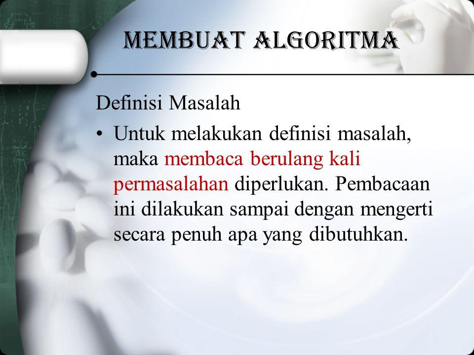 Membuat algoritma Definisi Masalah