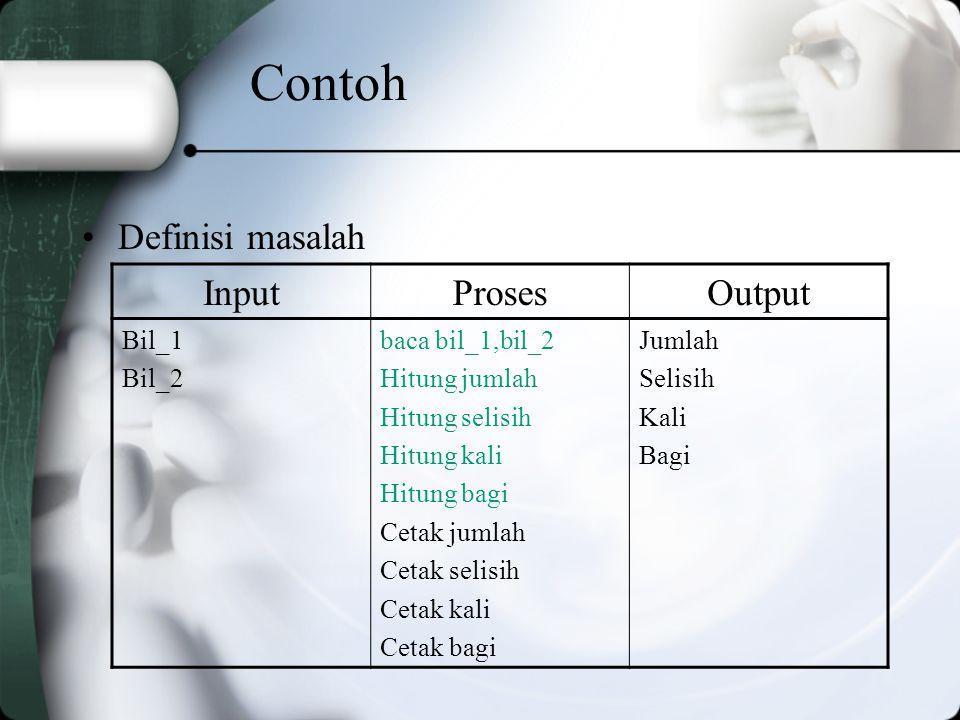 Contoh Definisi masalah Input Proses Output Bil_1 Bil_2