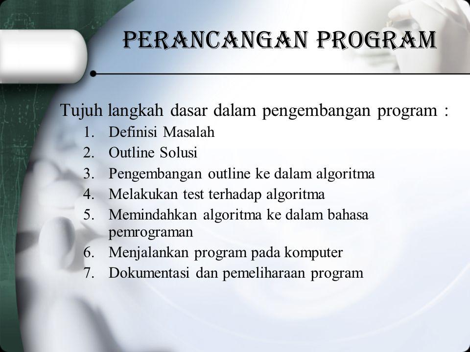 Perancangan Program Tujuh langkah dasar dalam pengembangan program :