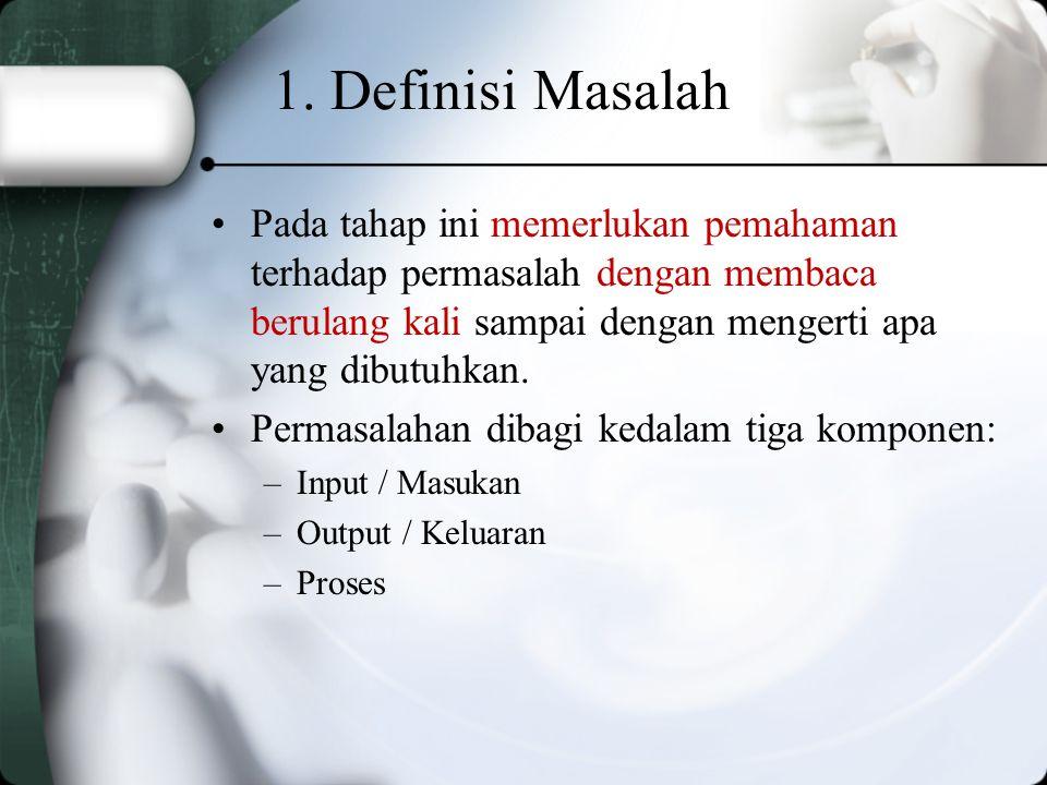 1. Definisi Masalah Pada tahap ini memerlukan pemahaman terhadap permasalah dengan membaca berulang kali sampai dengan mengerti apa yang dibutuhkan.