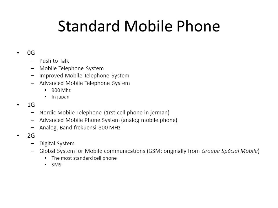 Standard Mobile Phone 0G 1G 2G Push to Talk Mobile Telephone System