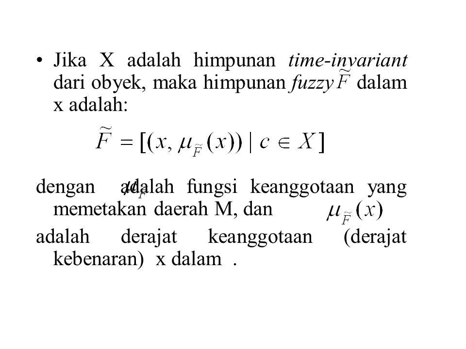 Jika X adalah himpunan time-invariant dari obyek, maka himpunan fuzzy dalam x adalah: