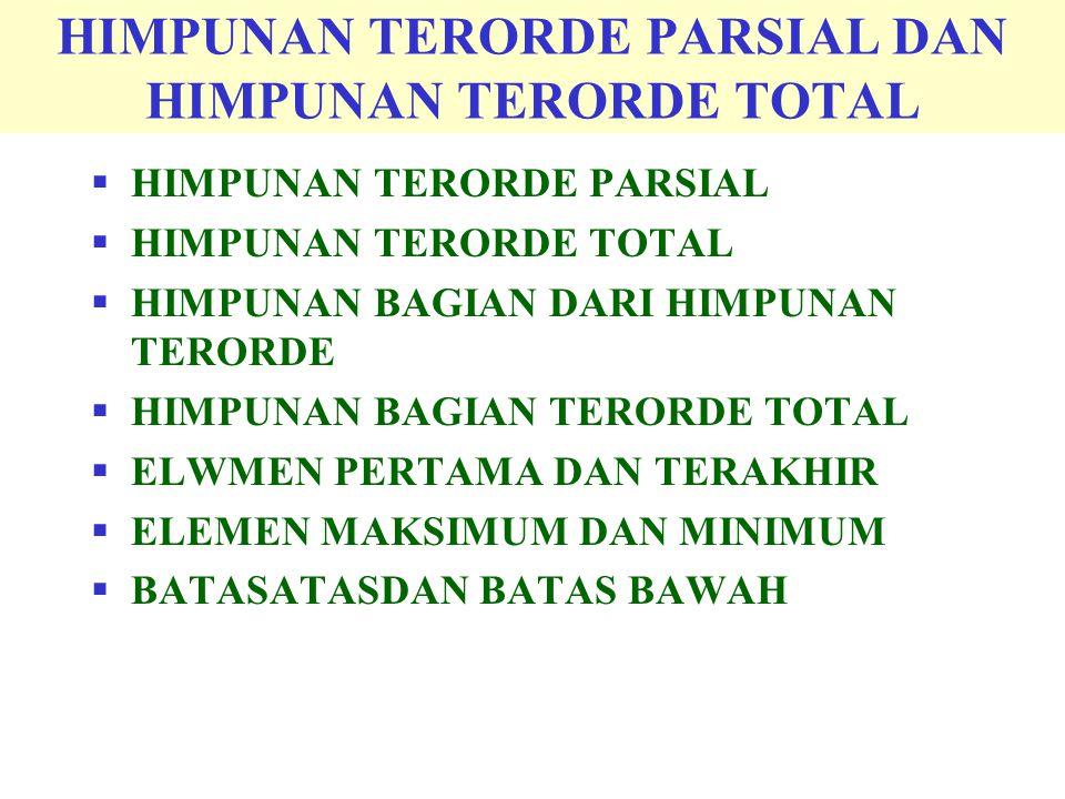 HIMPUNAN TERORDE PARSIAL DAN HIMPUNAN TERORDE TOTAL