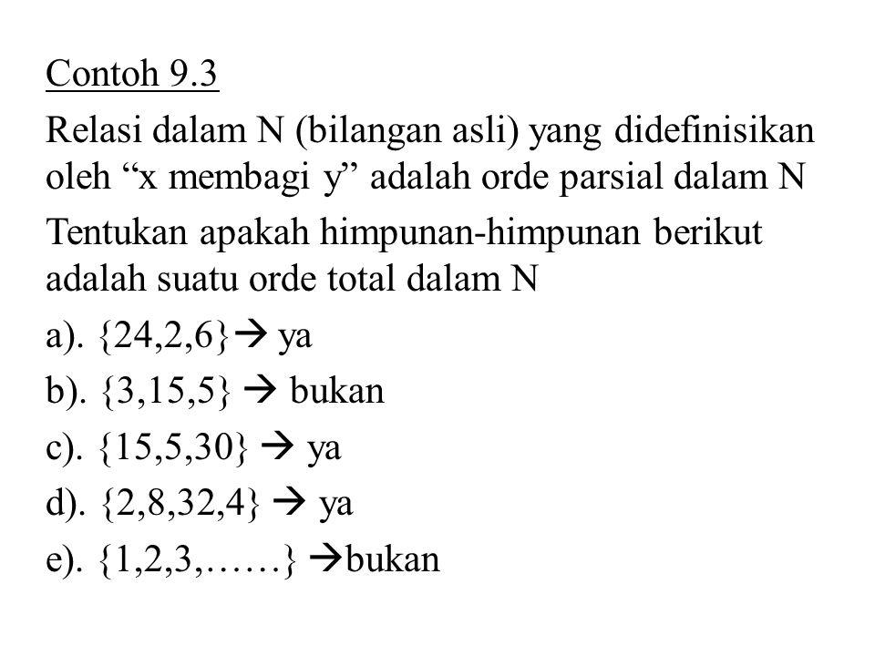 Contoh 9.3 Relasi dalam N (bilangan asli) yang didefinisikan oleh x membagi y adalah orde parsial dalam N.