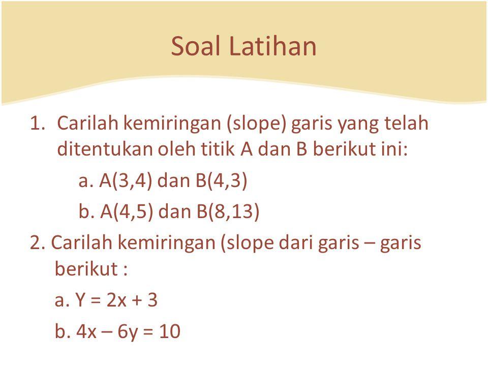 Soal Latihan Carilah kemiringan (slope) garis yang telah ditentukan oleh titik A dan B berikut ini: