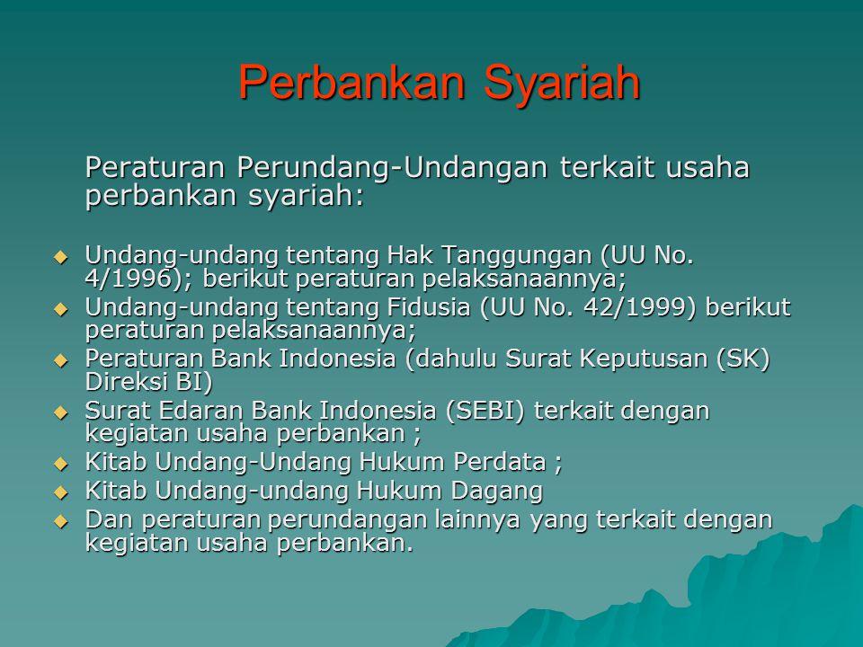 Perbankan Syariah Peraturan Perundang-Undangan terkait usaha perbankan syariah: