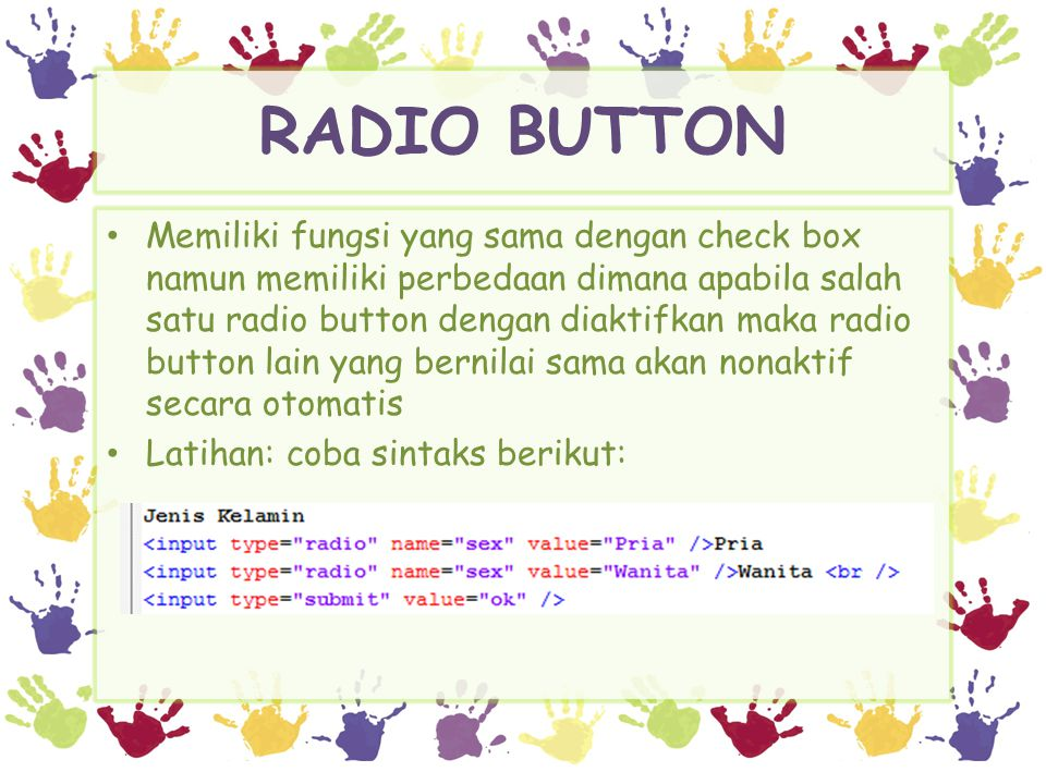 RADIO BUTTON