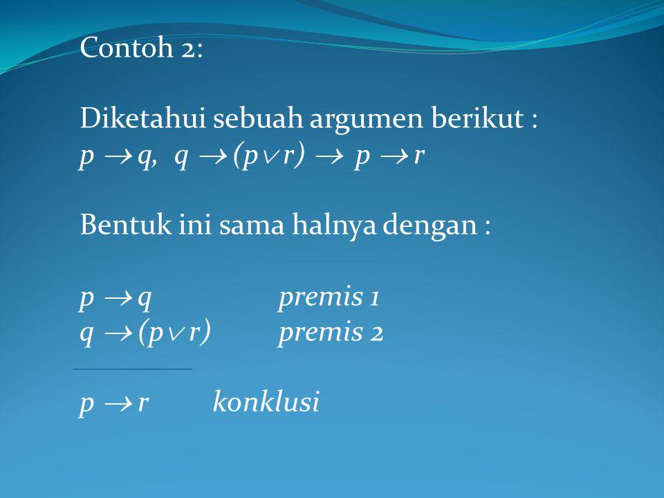 Contoh 2: Diketahui sebuah argumen berikut : p  q, q  (p r)  p  r. Bentuk ini sama halnya dengan :
