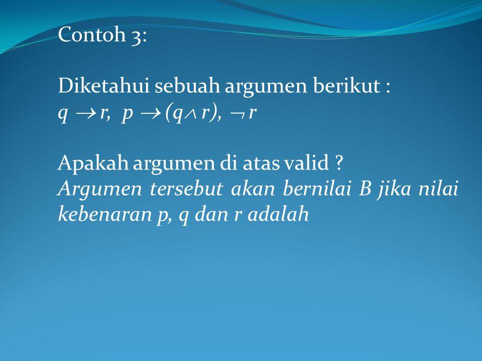 Contoh 3: Diketahui sebuah argumen berikut : q  r, p  (q r),  r. Apakah argumen di atas valid