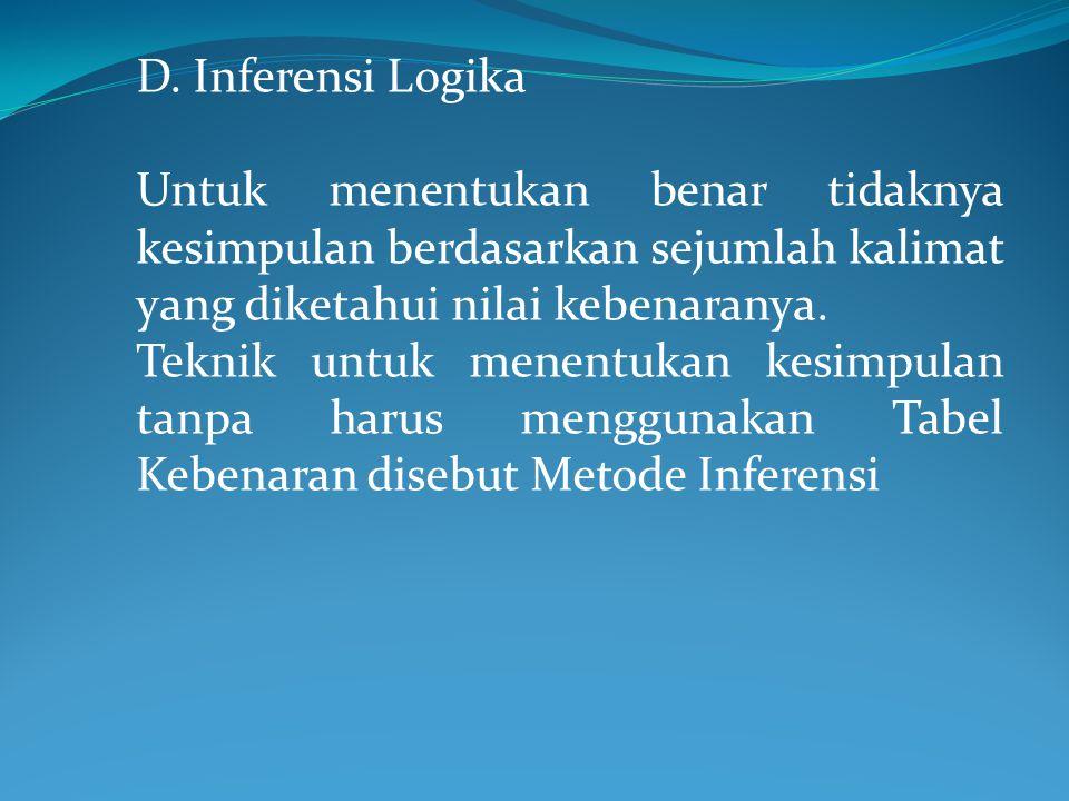 D. Inferensi Logika Untuk menentukan benar tidaknya kesimpulan berdasarkan sejumlah kalimat yang diketahui nilai kebenaranya.