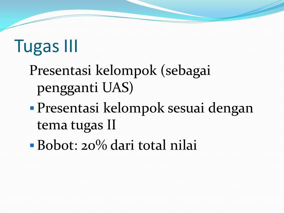 Tugas III Presentasi kelompok (sebagai pengganti UAS)