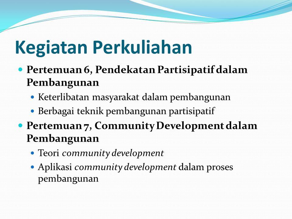 Kegiatan Perkuliahan Pertemuan 6, Pendekatan Partisipatif dalam Pembangunan. Keterlibatan masyarakat dalam pembangunan.