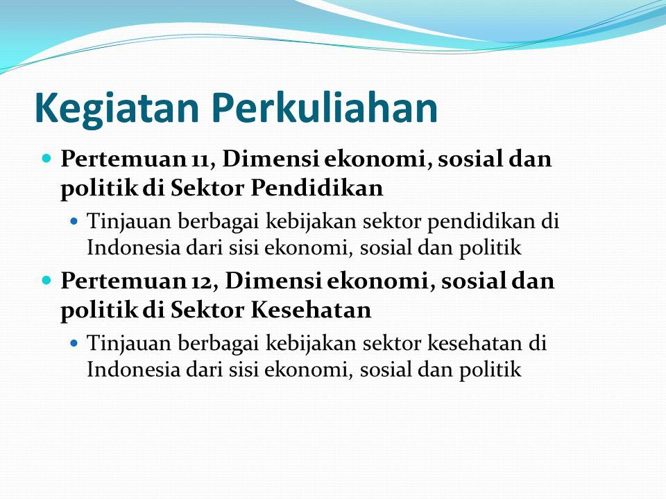 Kegiatan Perkuliahan Pertemuan 11, Dimensi ekonomi, sosial dan politik di Sektor Pendidikan.