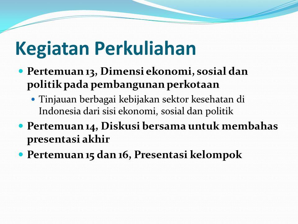 Kegiatan Perkuliahan Pertemuan 13, Dimensi ekonomi, sosial dan politik pada pembangunan perkotaan.