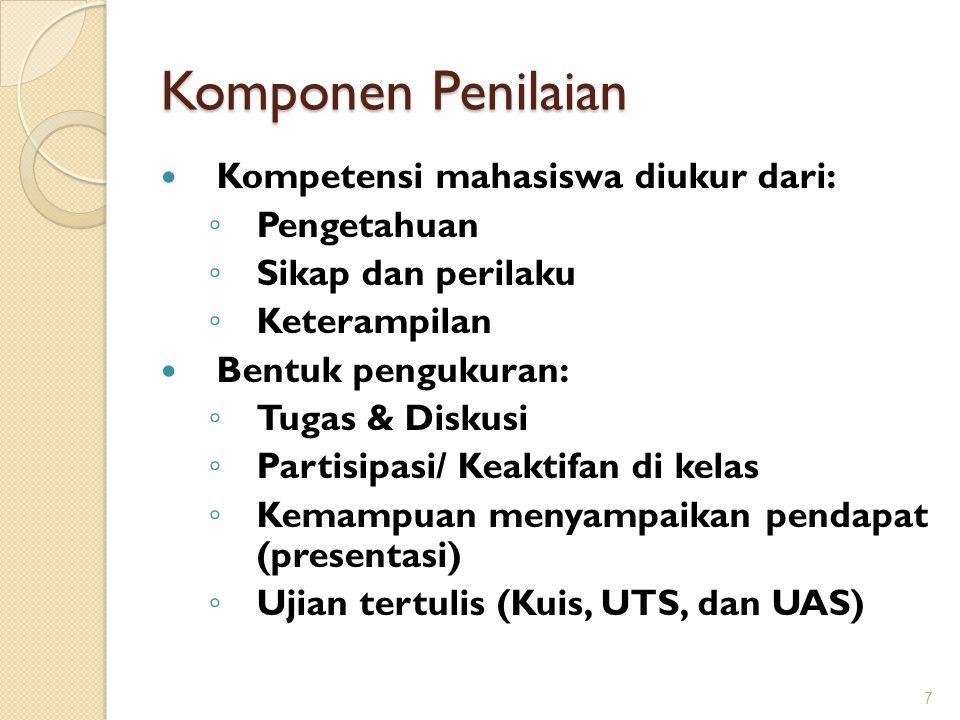 Komponen Penilaian Kompetensi mahasiswa diukur dari: Pengetahuan