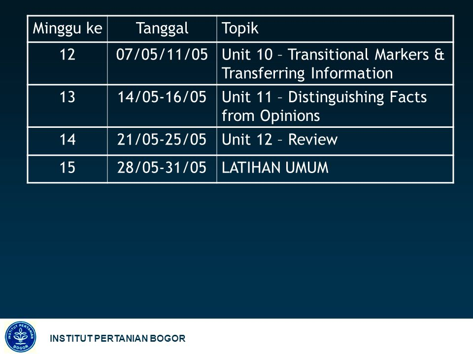 Minggu ke Tanggal. Topik. 12. 07/05/11/05. Unit 10 – Transitional Markers & Transferring Information.