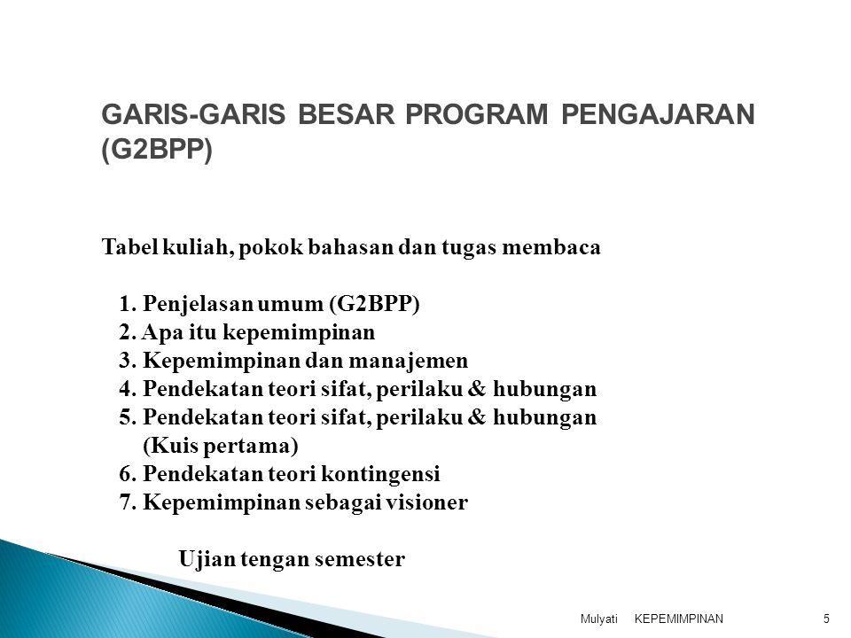 GARIS-GARIS BESAR PROGRAM PENGAJARAN (G2BPP)
