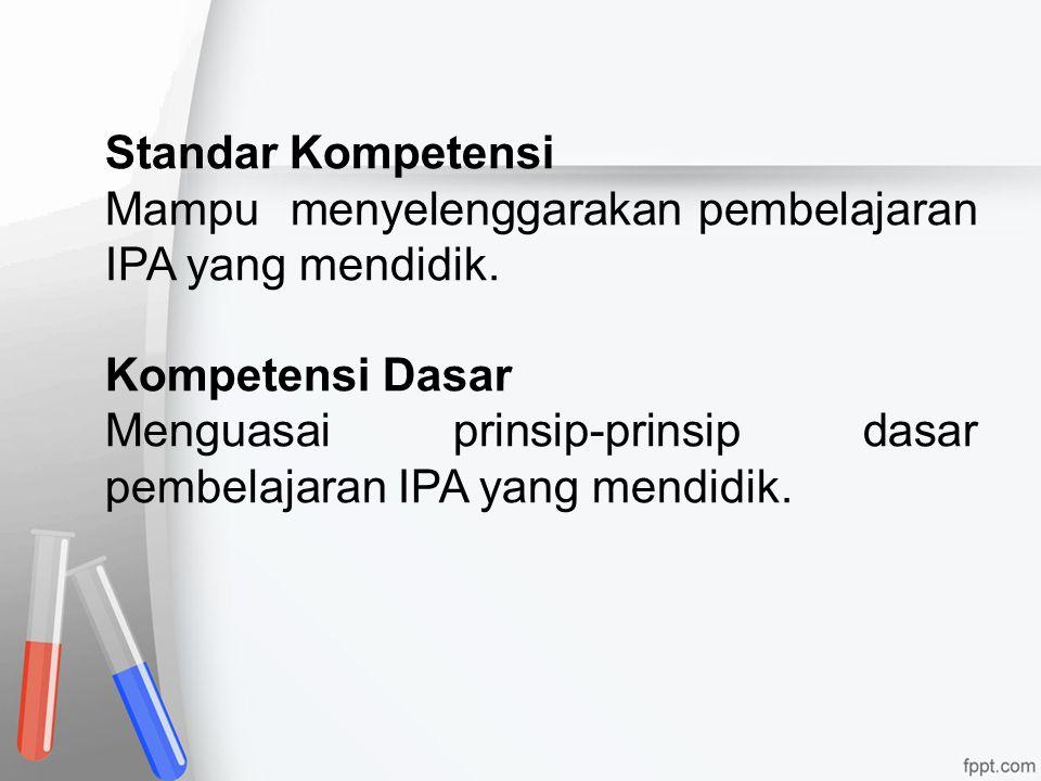 Standar Kompetensi Mampu menyelenggarakan pembelajaran IPA yang mendidik. Kompetensi Dasar.