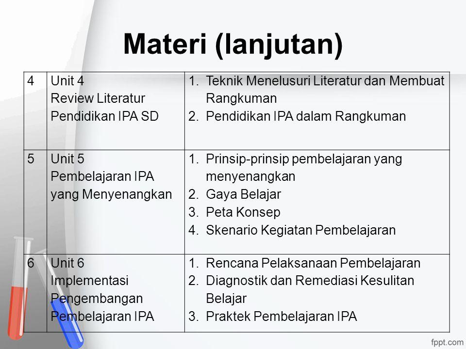 Materi (lanjutan) 4 Unit 4 Review Literatur Pendidikan IPA SD
