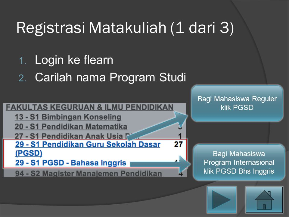 Registrasi Matakuliah (1 dari 3)
