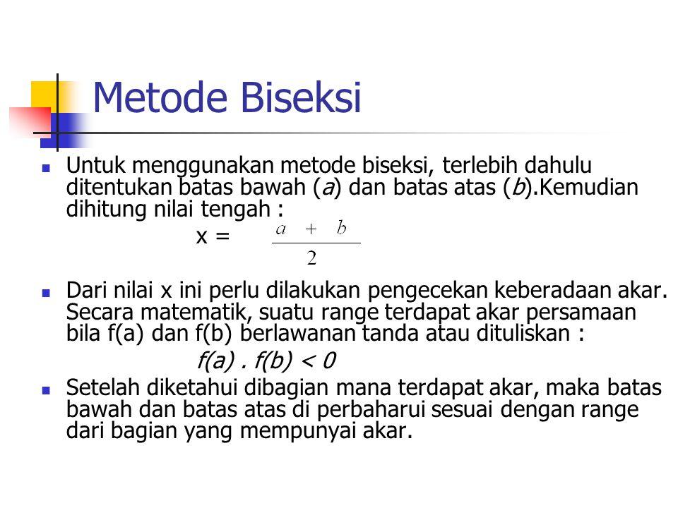Metode Biseksi Untuk menggunakan metode biseksi, terlebih dahulu ditentukan batas bawah (a) dan batas atas (b).Kemudian dihitung nilai tengah :