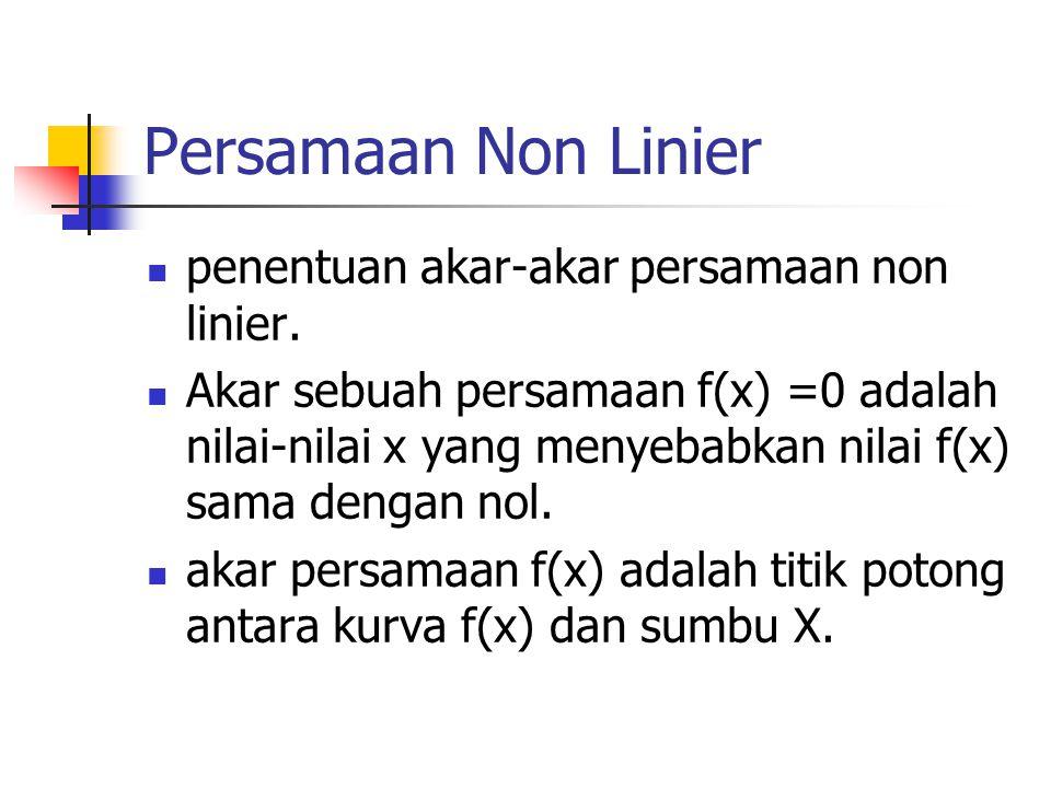 Persamaan Non Linier penentuan akar-akar persamaan non linier.