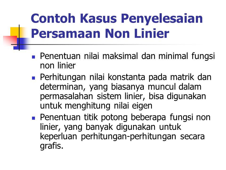 Contoh Kasus Penyelesaian Persamaan Non Linier