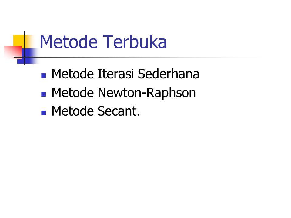 Metode Terbuka Metode Iterasi Sederhana Metode Newton-Raphson
