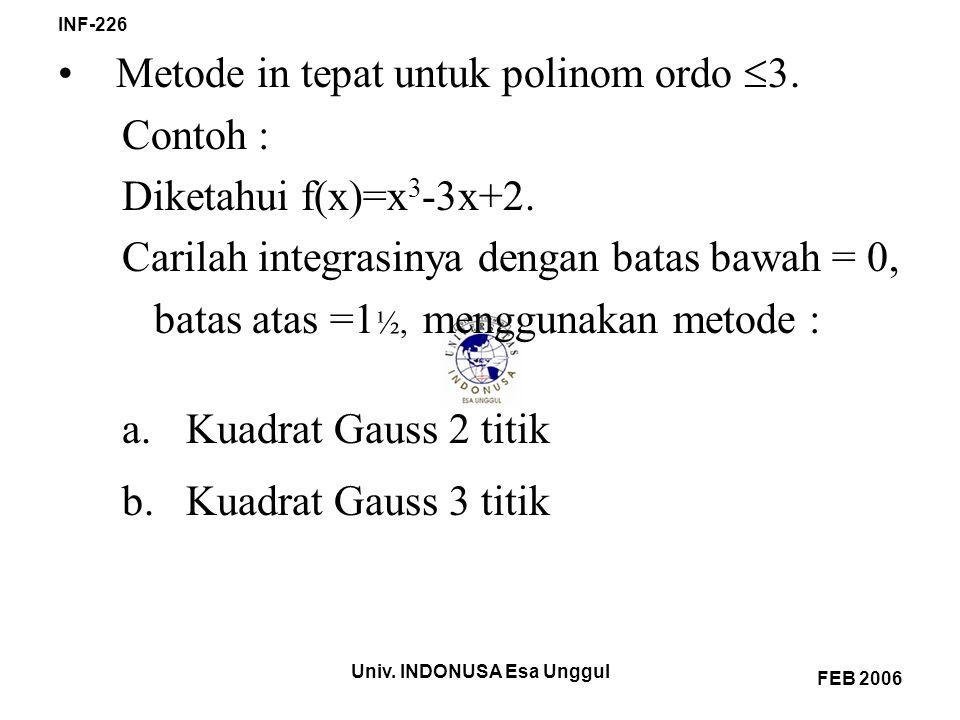 Metode in tepat untuk polinom ordo 3. Contoh : Diketahui f(x)=x3-3x+2