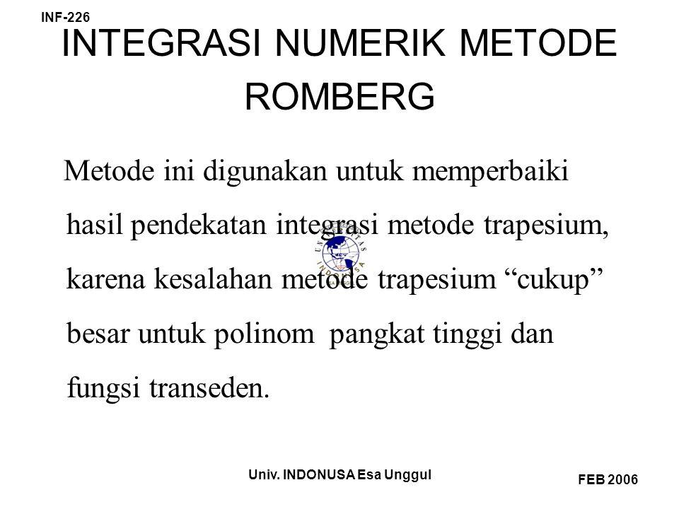 INTEGRASI NUMERIK METODE ROMBERG