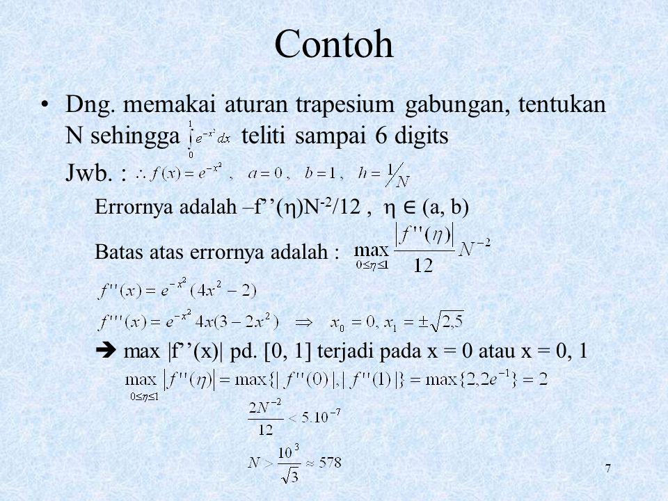 Contoh Dng. memakai aturan trapesium gabungan, tentukan N sehingga teliti sampai 6 digits. Jwb. :